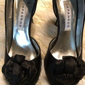 Caparros   black satin peep toe pumps Size 8